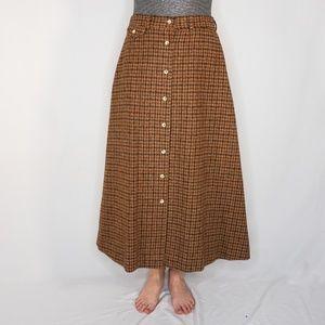 RALPH LAUREN Vintage Wool Brown Plaid Maxi Skirt